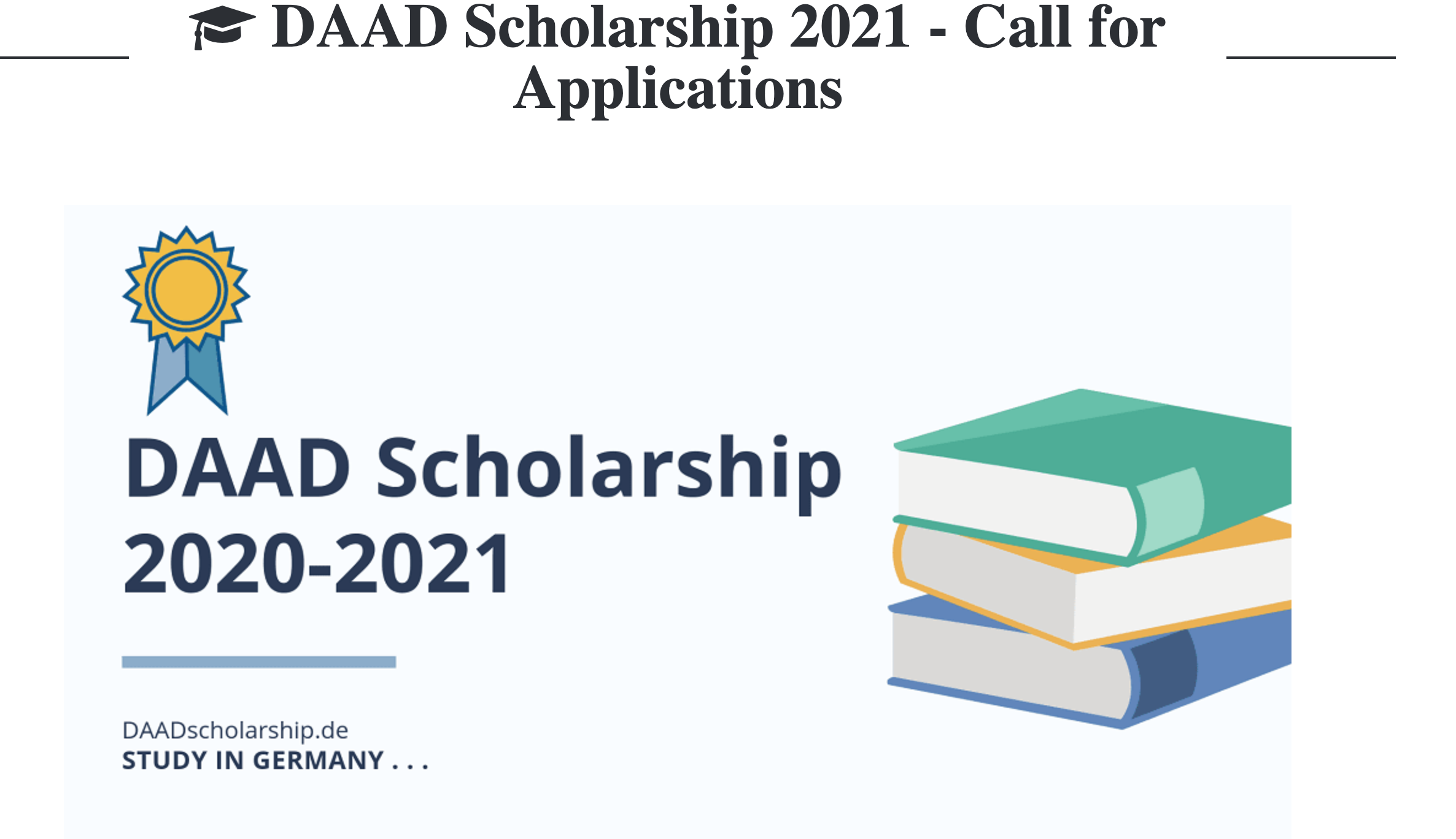 DAAD Scholarship 2021 - Call for Applications to Study in Germany ...